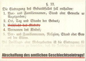 Postkartenkampagne (Vorderseite) zur Abschaffung des Geschlechtseintrags 2005 im Rahmen der Ausstellung 1-0-1 [one 'o one] intersex. Das Zwei-Geschlechter-System als Menschenrechtsverletzung. ©AG 1-0-1 intersex